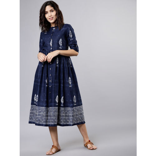 Vishudh Women Navy Blue & White Dyed A-Line Dress