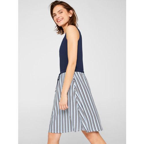 ESPRIT Women Navy Blue & White Striped A-Line Dress