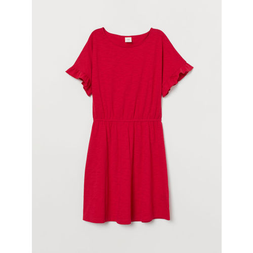 H&M Women Red Slub Jersey Dress