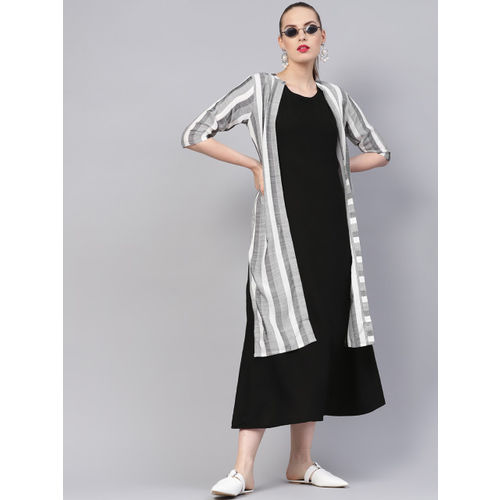 Libas Women Black & White Solid Layered A-Line Dress