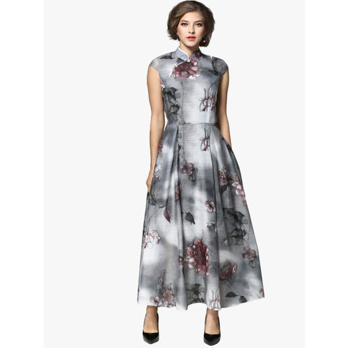 JC Collection Women Grey Printed Fit and Flare Dress