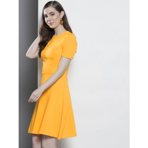 DOROTHY PERKINS Women Yellow Fit and Flare Dress