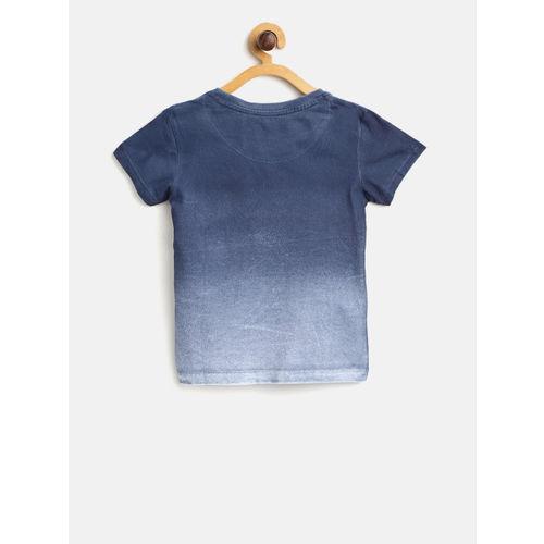 Palm Tree Boys Blue Printed Round Neck T-shirt