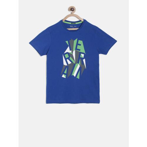 Indian Terrain Boys Blue Printed Round Neck T-shirt