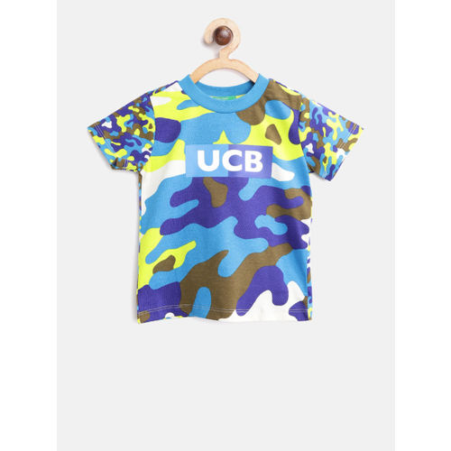 United Colors of Benetton Boys Blue & Olive Green Camouflage Print Round Neck T-shirt