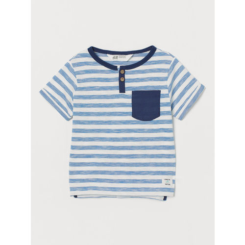 H&M Boys Blue & White Short-Sleeved Henley Shirt