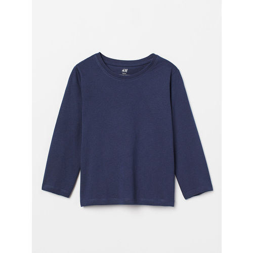 H&M Boys Blue Solid Jersey T-shirt