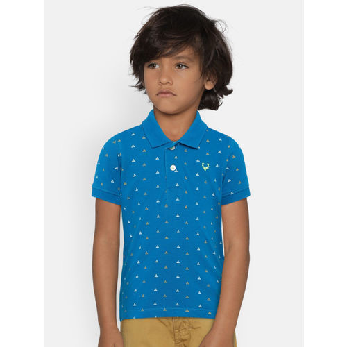 Allen Solly Junior Boys Blue Printed Polo Collar T-shirt