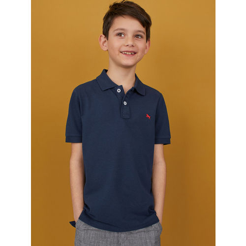 H&M Boys Blue Solid Polo T-shirt