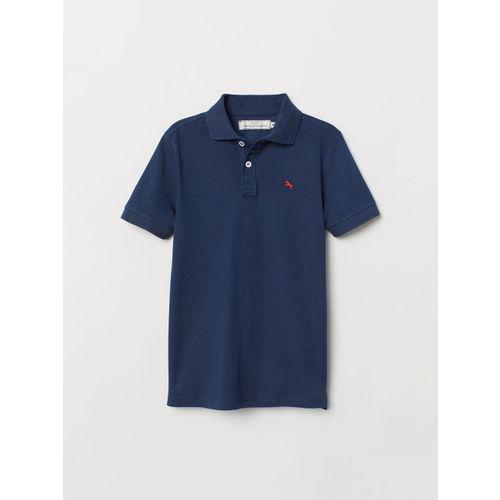 H&M Boys Blue Solid Polo T-shirt