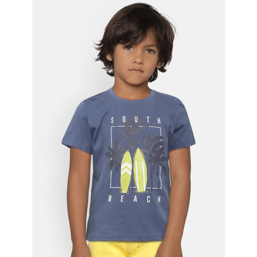 Mango Kids Boys Blue Printed Round Neck T-shirt