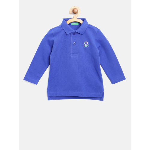 United Colors of Benetton Boys Blue Solid Polo Collar T-shirt