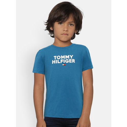 Tommy Hilfiger Boys Blue Printed Round Neck T-shirt