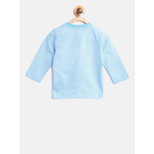 United Colors of Benetton Boys Blue & White Striped Round Neck T-shirt