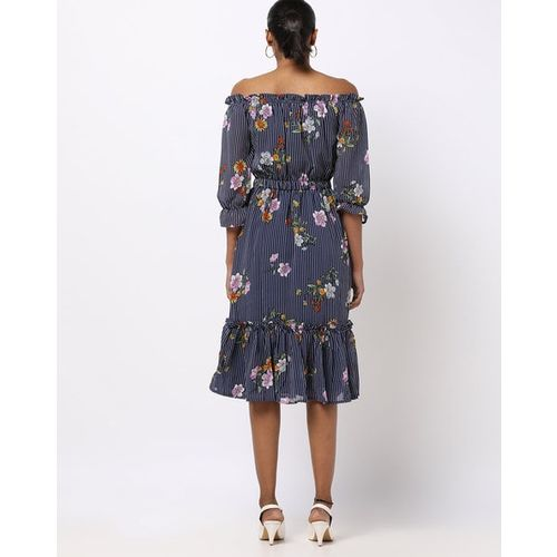 Rare Floral Print Off-Shoulder Dress with Puffed Sleeves