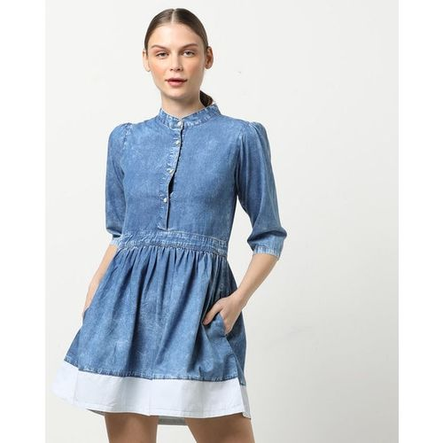 Freakins Washed A-line Dress with Band Collar