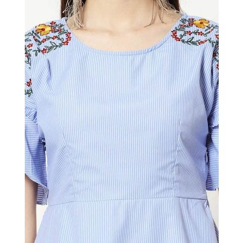FABALLEY Striped Skater Dress with Floral Embroidery