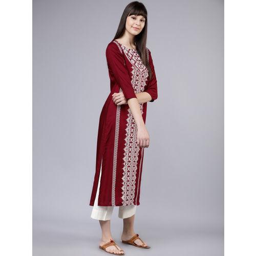 Vishudh Women Maroon & White Printed Straight Kurta