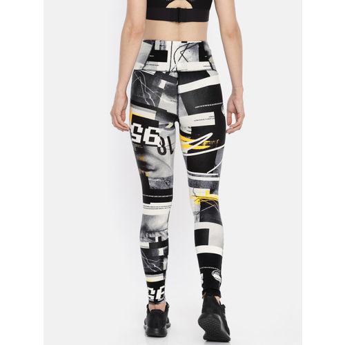 Reebok Women Black & White Printed Tights