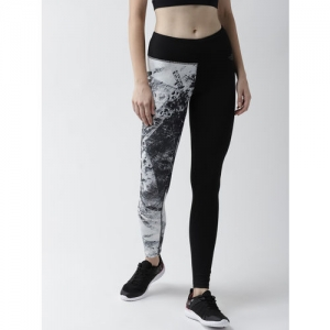 The North Face Women Black & White Printed 24/7 Graphic Mid-Rise Tights