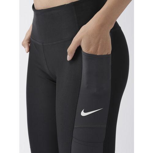 Nike Women Black & Grey Patterned DRI-FIT 7_8 REBEL Running Tights