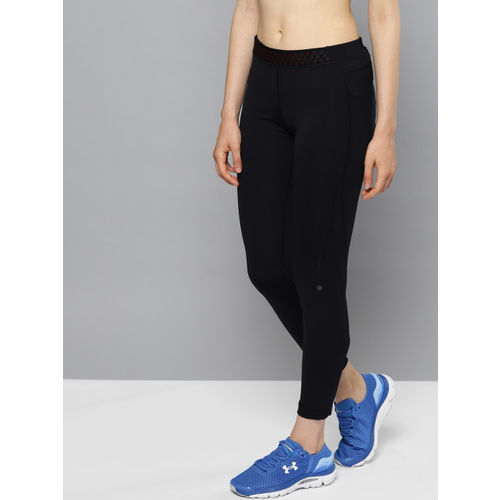 UNDER ARMOUR Women Black Rush Run HeatGear Tights