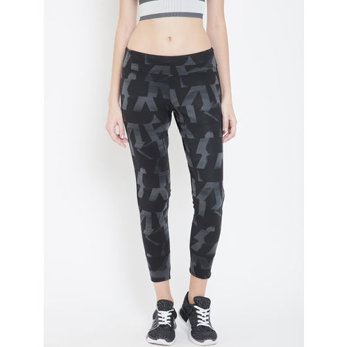 ADIDAS Women Black & Grey Printed Own The Run Cropped Tights