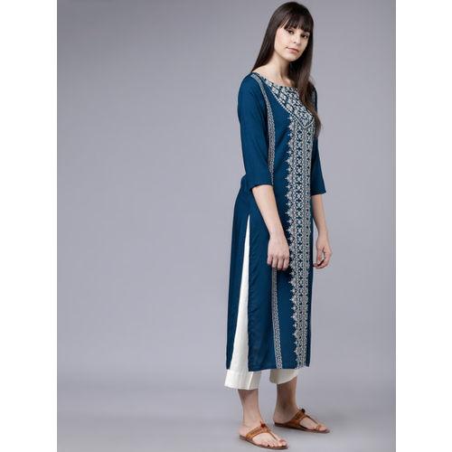 Vishudh Women Teal Blue & White Printed Straight Kurta