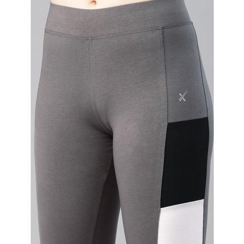 HRX by Hrithik Roshan Women Grey & Black Colourblocked Tights