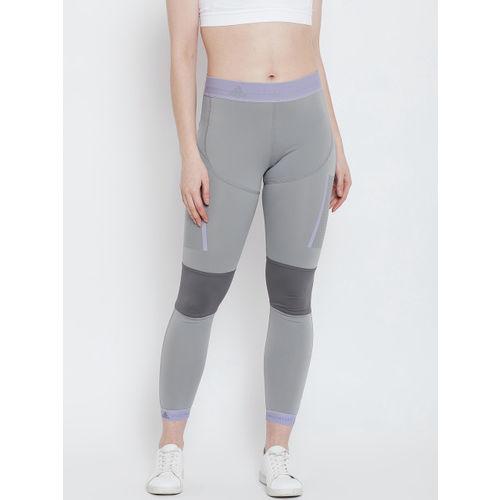 ADIDAS Women Grey Solid RUN TIGHT Cropped Tights