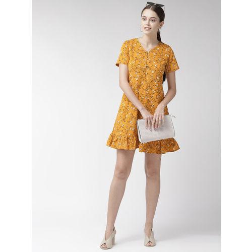 plusS Women Mustard Yellow & Black Printed A-Line Dress