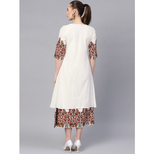 Libas Women White Solid Layered A-Line Dress