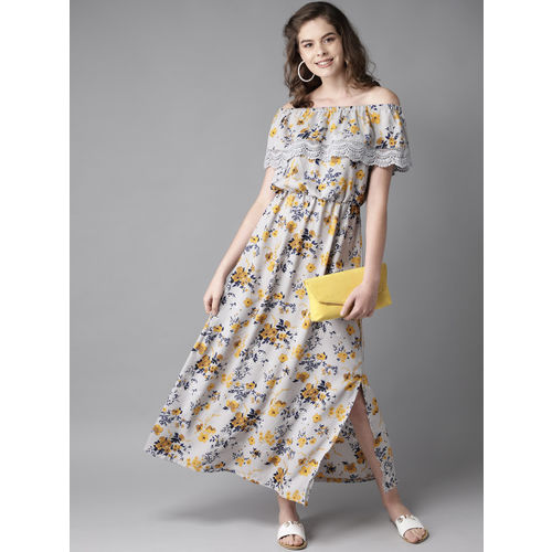 HERE&NOW Women Grey & Mustard Yellow Off-Shoulder Printed Maxi Dress
