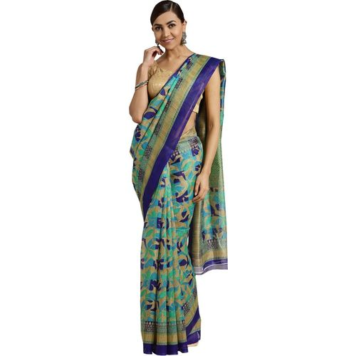 Ishin Printed Bollywood Poly Silk Saree(Multicolor)