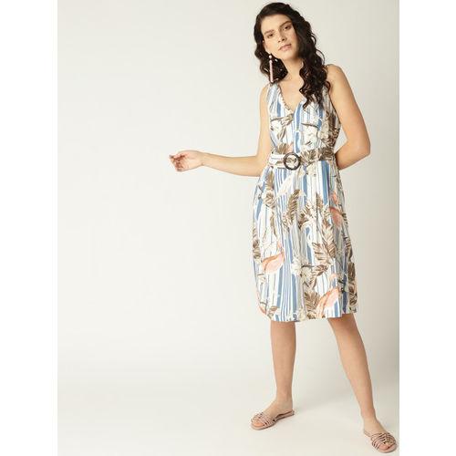 MANGO Women White & Blue Striped Printed Midi A-Line Dress