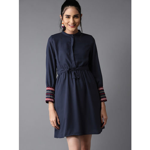 Moda Rapido Women Navy Blue Solid Fit & Flare Dress