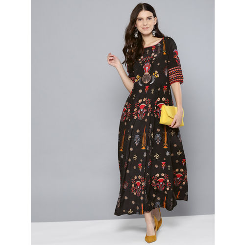 Label Ritu Kumar Women Black & Red Printed Maxi Dress