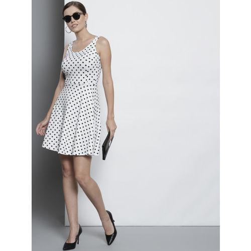 DOROTHY PERKINS Women White & Black Polka Dot Print Fit & Flare Dress