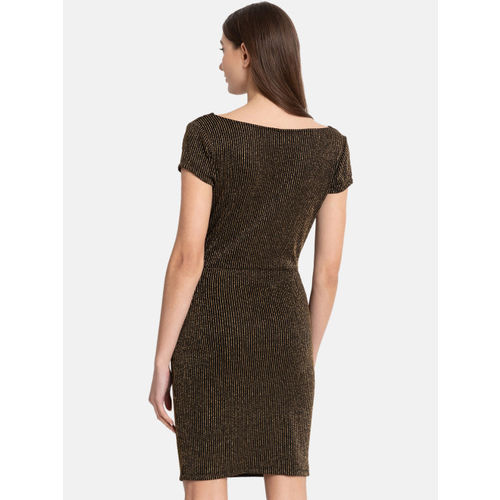 Kazo Women Black & Gold-Toned Striped Sheath Dress