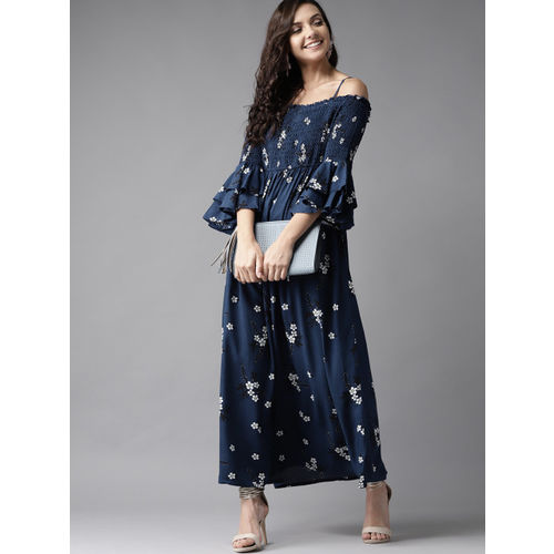 HERE&NOW Women Navy Blue & White Printed Off-Shoulder Maxi Dress