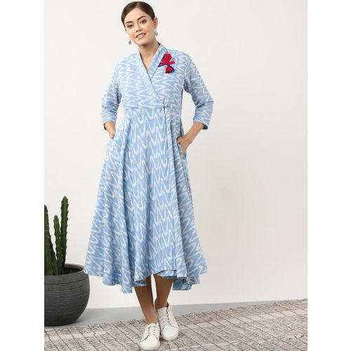 Sangria Women Blue & White Printed Midi Wrap Dress