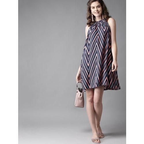 HERE&NOW Women Blue & Peach-Coloured Printed A-Line Dress