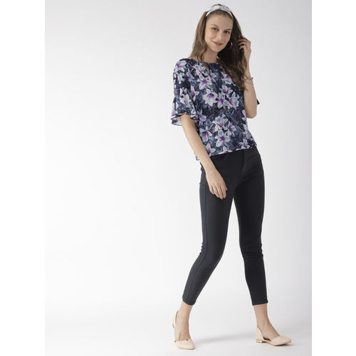 Mast & Harbour Women Navy Blue & Pink Printed Regular Top