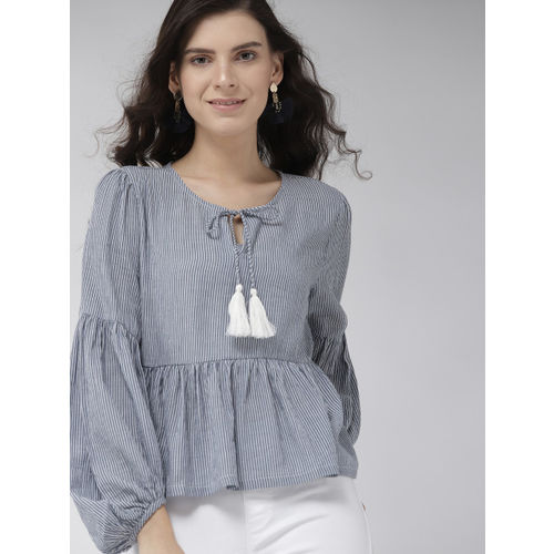 Mast & Harbour Women Blue & White Striped A-Line Top