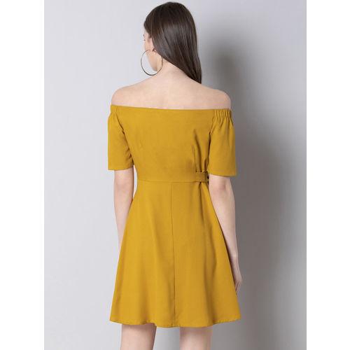FabAlley Women Yellow Solid A-Line Dress