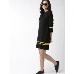 Mast & Harbour Women Black Solid T-shirt Dress