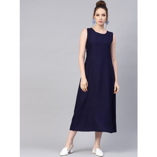 Libas Women Navy Blue Solid Maxi Dress with Ethnic Jacket
