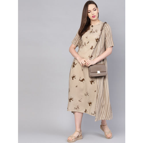 Libas Women Taupe & Brown Printed A-Line Dress with Ethnic Jacket