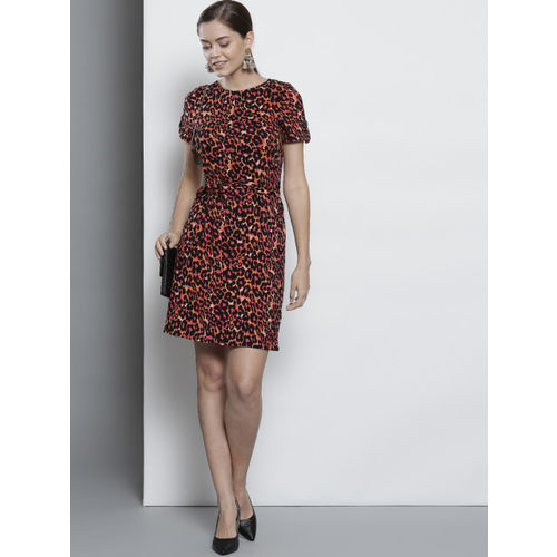 DOROTHY PERKINS Women Black & Pink Printed A-Line Dress