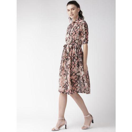 WISSTLER Women Beige & Pink Animal Print Shirt Dress